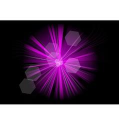 purple rays on the black vector image