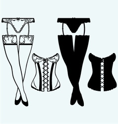 Woman in corset fashion lingerie vector