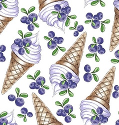 Watercolor seamless pattern with blueberries vector