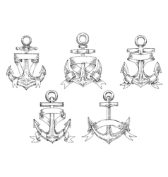 Heraldic marine anchors with ribbons vector