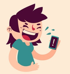 Cute girl laughing at the phone vector