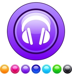 Headphones circle button vector