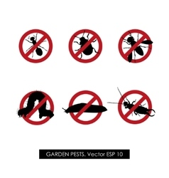 Pest control set of prohibition signs vector