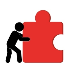 person pushing puzzle piece icon vector image