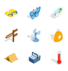 Beach holidays icons isometric 3d style vector