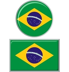 Brazilian round and square icon flag vector
