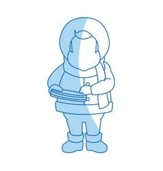 Character man carols singer at a winter clothes vector