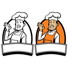 chef with okay sign hand vector image