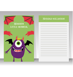 cute notebook template with happy monster vector image vector image