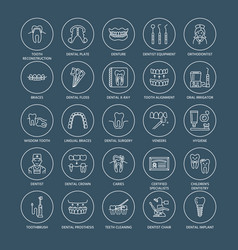 Dentist orthodontics line icons dental care vector