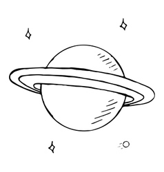 Doodle planet saturn with stars hand drawn vector
