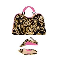 Fashion handbag with high heel shoes vector image