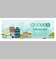 Hello winter cityscape background 3 vector