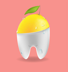 Lemon tooth mixed dental symbol vector