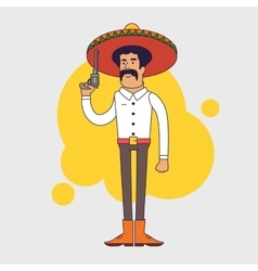 Mexican bandit with sombrero mustache and big vector