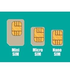 Modern sim card sizes mini micro nano vector