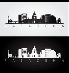 pasadena usa skyline and landmarks silhouette vector image vector image