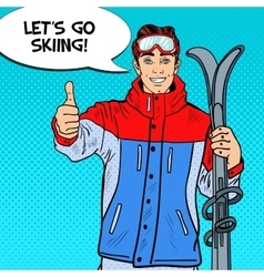 Pop Art Man on Ski Holidays Gesturing Thumb Up vector image vector image