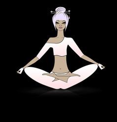relaxing girl in yoga vector image vector image