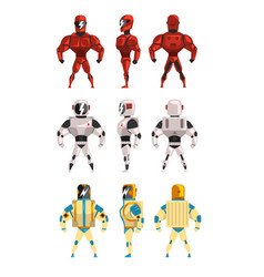 robot ostumes set superhero man vector image