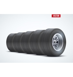 Row of car tires at warehouse vector