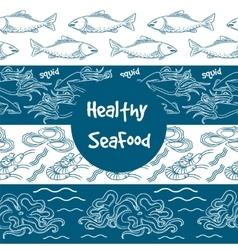 Seafood seamless borders set vector image vector image