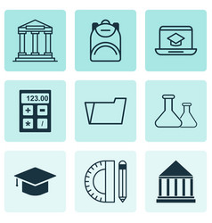 Set of 9 school icons includes college education vector