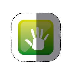 Sticker color square with handprint icon vector