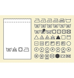 Textile label and washing symbols vector image
