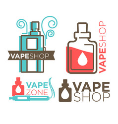 Vape shop logotypes on white flat vector