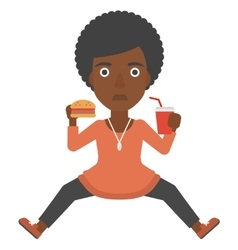 Woman eating hamburger vector