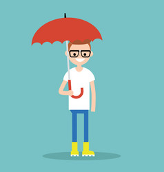 young smiling character with umbrella wearing vector image