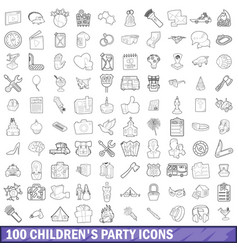 100 children party icons set outline style vector image