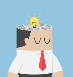 Businessman head with idea hiding inside the maze vector image