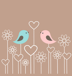 Couple of cute birds with flowers and hearts vector