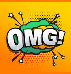 Omg lettering comic text sound effect speech vector