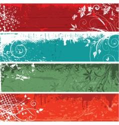floral grunge panels vector image