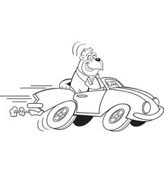 Cartoon gorilla driving a sports car vector