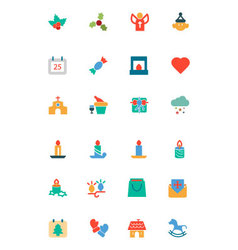 Christmas colored icons 3 vector