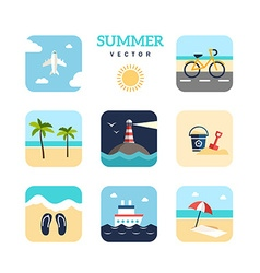 Set of summer holidays flat design plane vector