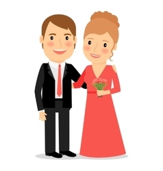 Happy couple with bouquet vector