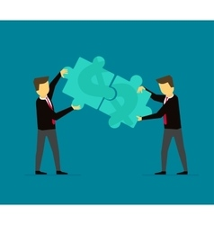 Businessmen make money puzzle cooperation vector