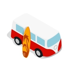 Retro red bus with yellow surfboard icon vector