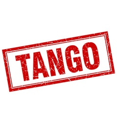 tango red square grunge stamp on white vector image