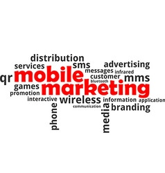 Word cloud mobile marketing vector