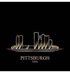 Gold silhouette of Pittsburgh on black background vector image