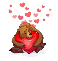 bear and heart vector image vector image