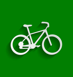 Bicycle bike sign paper whitish icon vector