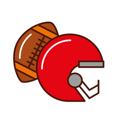 Brightly football helmet and ball vector