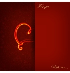 Card with glowing heart on love symbol vector image